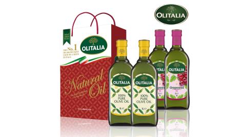 【Olitalia奧利塔】義大利油品雙享特惠組-橄欖油禮盒x1+葡萄籽油禮盒x1