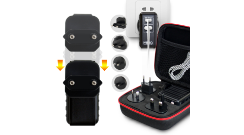 MINIQ 專為旅行設計全球通用萬用充電器AC-DK50T Type-C PD+QC3.0+萬能多國轉換插頭-黑