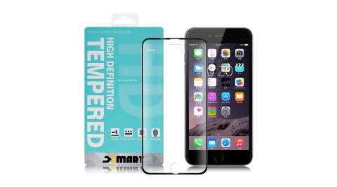 Xmart for iPhone 7 /iPhone 8 /iPhone 6s 高透光2.5D滿版9H玻璃保護貼-黑2入