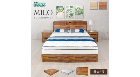 IHouse-米洛 日系插座收納床頭+床底+獨立筒三件組 雙大6尺