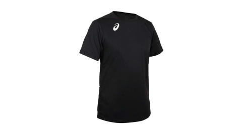 ASICS 男排羽球短袖T恤-排球 羽毛球 運動 吸濕排汗 上衣 亞瑟士 黑白@2051A270-001@