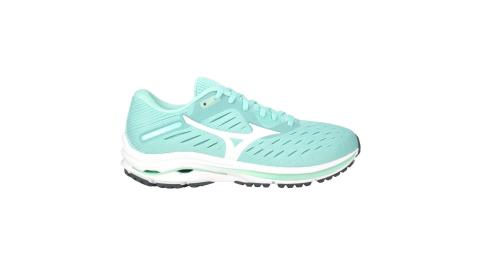 MIZUNO WAVE RIDER 24 女慢跑鞋-路跑 避震 美津濃 湖水綠白@J1GD200301@