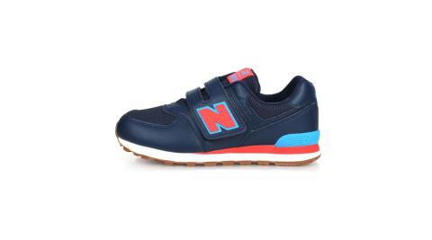 NEWBALANCE NEW BALANCE男女中童復古慢跑鞋-WIDE-574 寬楦 NB N字鞋 丈青藍紅@YV574GCN@