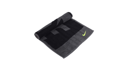 NIKE 日式盒裝毛巾-一只入 海邊 浴巾 游泳 戲水 慢跑 路跑 黑灰螢光黃@NTT81063MD@
