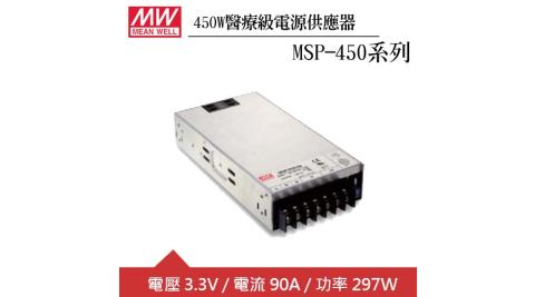 MW明緯 MSP-450-3.3 單組3.3V輸出醫療級電源供應器(297W)