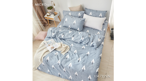 《DUYAN 竹漾》天絲絨雙人四件式舖棉兩用被床包組- 白樺秘境