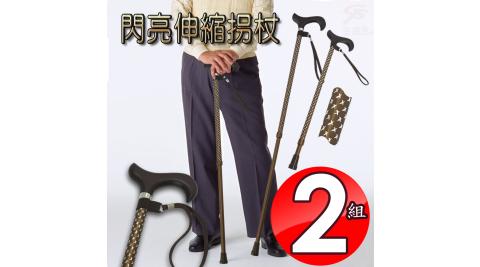 2組10段可調式伸縮輔助拐杖61至93cm/附手腕袋 金德恩