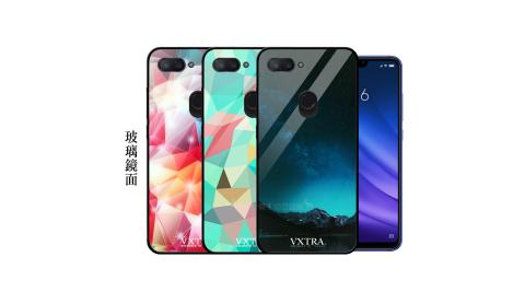 VXTRA 小米8 Lite 鋼化玻璃防滑全包保護殼 手機殼 繽紛系列