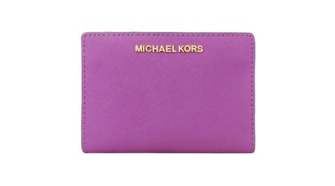 MICHAELKORSJETSET防刮卡片零錢短夾紫紅