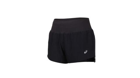 ASICS 女3.5吋平織短褲-慢跑 反光 吸濕排汗 三分褲 亞瑟士 黑銀@2012A835-001@