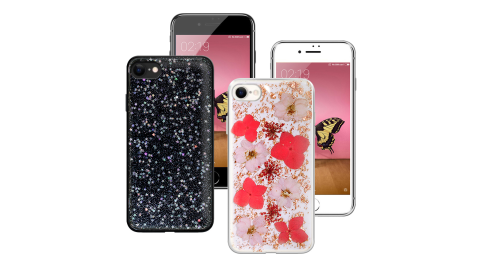 CITYBOSS for iPhone SE2 4.7吋 繽紛星空防滑保護殼-玫瑰金飛燕 星空 兩款任選