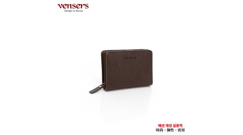【vensers】小牛皮潮流個性皮夾(TA606701咖啡短夾)