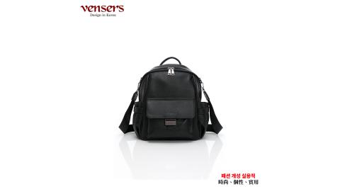 【vensers】小牛皮潮流個性兩用包(NL669101黑色)
