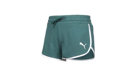 PUMA 女基本系列SUMMER STRIPES短褲-歐規 慢跑 三分褲 針織 真理褲 綠白@84582445@