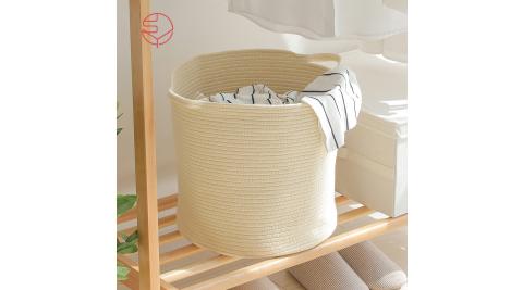 本月特談【日本霜山】亞麻風棉線編織圓形洗衣收納籃-附手把