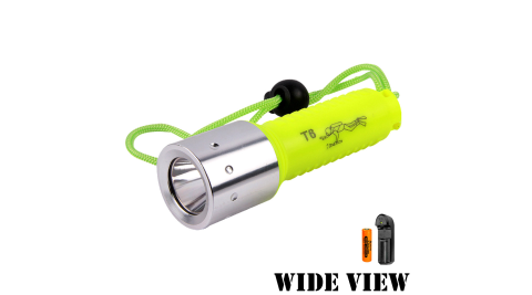 【WIDE VIEW】螢光T6潛水手電筒組(附電池+充電器NZL-WT6-AP)