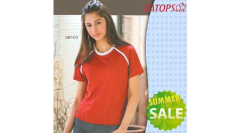 【瑞多仕-RATOPS】女款 Coolmax 圓領短袖排汗休閒衫.T恤.排汗衣/吸濕.快乾.抗UV. / DB7473 棗紅