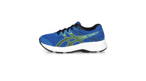 ASICS CONTEND 6 GS 男女中童慢跑鞋-運動鞋 亞瑟士 藍黑螢光綠@1014A086-401@