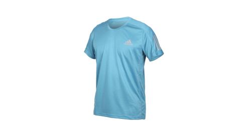 ADIDAS 男短袖T恤-亞規 吸濕排汗 運動 慢跑 路跑 上衣 反光 愛迪達 淺藍銀@GJ9966@