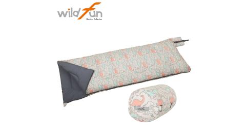 【WildFun 野放】童趣羊毛睡袋 成人睡袋 恐龍印花 6°C-10 羊毛/中空保暖纖維 睡袋 露營睡袋