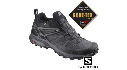 【SALOMON 索羅門】Salomon 登山鞋 寬楦 低筒 GORETEX 防水 男 X ULTRA 3 黑/磁灰/靜灰