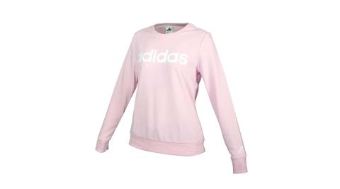 ADIDAS 女圓領長袖T恤-大學T 圈毛 休閒 愛迪達 上衣 粉紅白@GL0721@