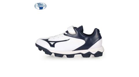 MIZUNO WAVE SELECT NINE JR. 男兒童棒壘球鞋-WIDE 白丈青@11GP192514@