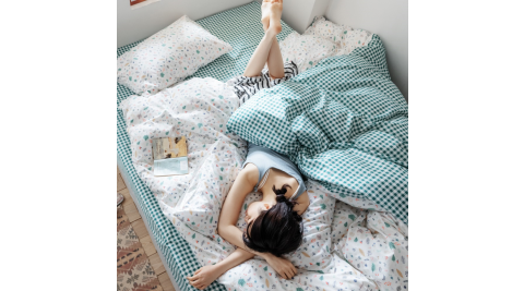 【KOKOMO'S扣扣馬】MIT天然精梳棉200織紗雙人床包被套四件組-孟夏之戀