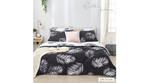 《DUYAN 竹漾》舒柔棉加大四件式床包羽絲絨被組-夜語森林