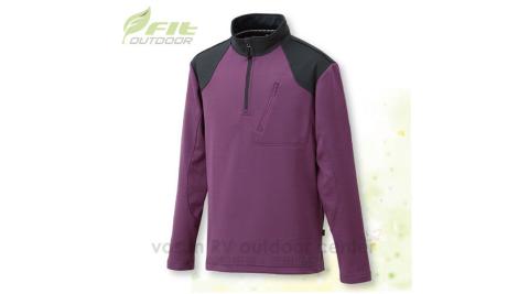 【FIT】男新款 內刷保暖上衣 / 內刷保暖系列..刷毛衣.立領拉鍊設計/灰紫色 EW1102