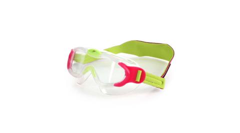 SPEEDO 男女幼童進階面罩泳鏡-游泳 蛙鏡 抗UV 訓練 兒童 桃紅螢光綠@SD8087638028N@