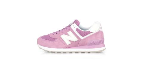 NEWBALANCE 女復古慢跑鞋-574系列 麂皮 NB N字鞋 粉紫白@WL574OAC@