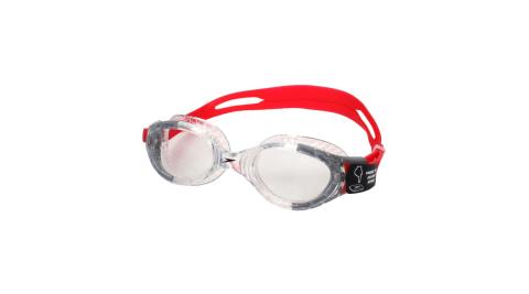 SPEEDO FUTURA BIOFUSE 成人運動泳鏡-抗UV 蛙鏡 游泳 透明紅黑@SD811313B991N@