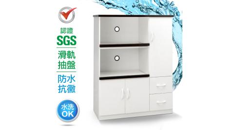 IHouse-SGS 防潮抗蟲蛀緩衝塑鋼三門二抽二拖置物電器櫃(寬97深43高124CM)