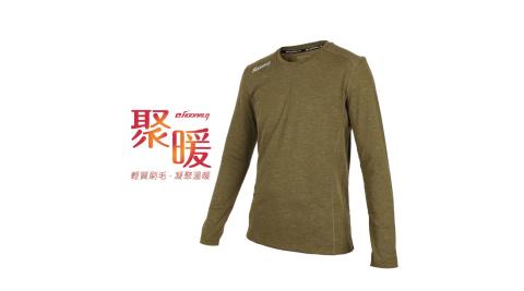 HODARLA 男聚暖保暖衣-臺灣製 刷毛 長T T恤 長袖上衣 慢跑 路跑 麻花橄綠@3149503@