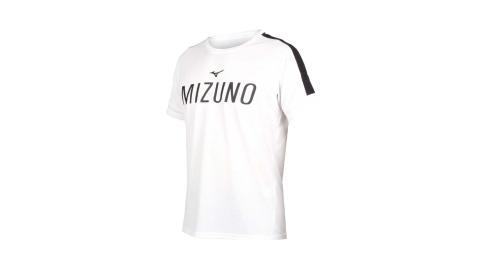 MIZUNO 男短袖T恤-吸汗快乾 美津濃 慢跑 路跑 白黑@K2TA050201@