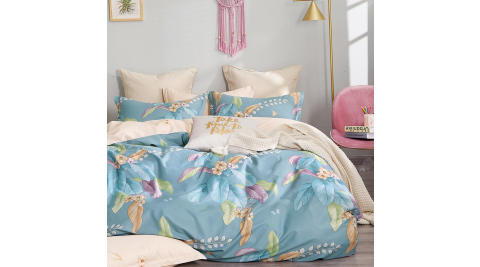 【KOKOMO'S扣扣馬】MIT天然精梳棉200織紗雙人被套加大床包四件組-美人如玉