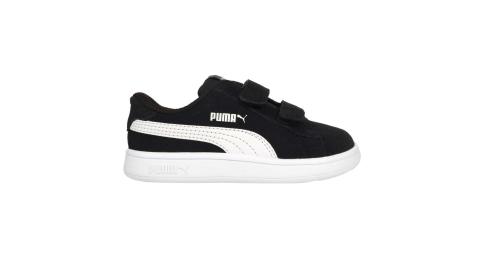 PUMA SMASH V2 SD V INF 男女小童休閒運動鞋-童鞋 魔鬼氈 麂皮 黑白@36517801@