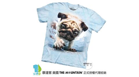【摩達客】美國進口The Mountain 水中巴哥犬 純棉環保短袖T恤
