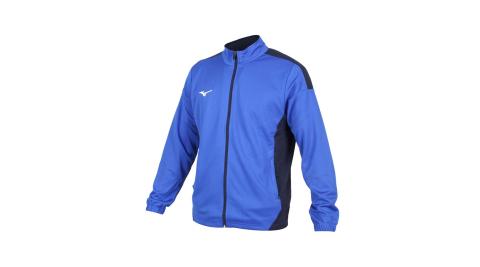 MIZUNO 男針織運動外套-立領外套 慢跑 路跑 抗UV 吸汗速乾 藍丈青@32TC003222@