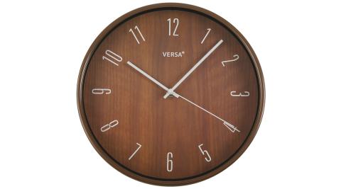 《VERSA》簡約木紋掛鐘(深棕30cm)