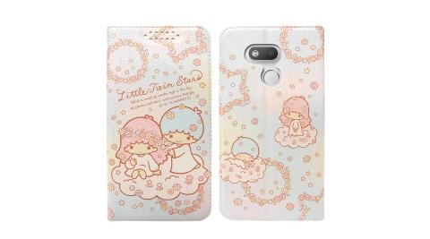 三麗鷗授權 Kikilala 雙子星 HTC Desire 12s 粉嫩系列彩繪磁力皮套(花圈)