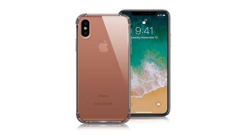 Xmart for iPhone X 清透高質感TPU+PC手機保護殼-黑