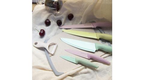 義大利Superare粉彩麥稈不鏽鋼刀具砧板七件禮盒組SKU-SS-02