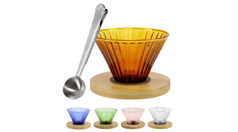 CoFeel 濾杯組手沖咖啡濾杯玻璃濾杯+不鏽鋼咖啡匙