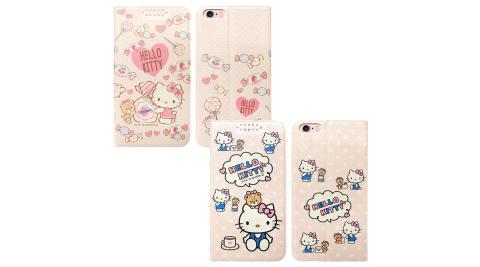三麗鷗授權 Hello Kitty貓 iPhone 6s Plus/6 Plus 5.5吋 粉嫩系列彩繪磁力皮套 有吊飾孔