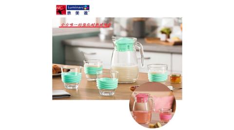樂美雅 強化玻璃海岸線壺杯組-粉綠