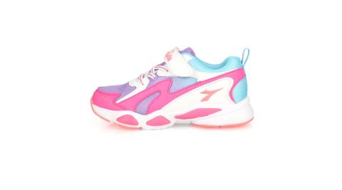 DIADORA 男女童競速慢跑鞋-超寬楦 路跑 魔鬼氈 桃紅紫白藍@DA11018@