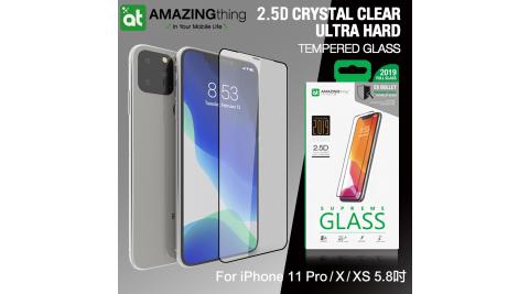 AT iPhone 11 Pro / X / XS 5.8吋 共用款 2.5D水晶全覆蓋 子彈系列9H鋼化玻璃膜(黑)