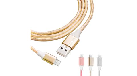 WELLY HTC/三星/SONY/LG Micro USB 二代金屬系經典編織線 傳輸充電線2M(超值2入)